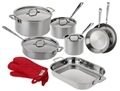 All-Clad Stainless 13-Piece Set with Oven Mitts
